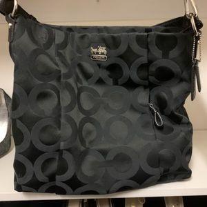 Black coach purse with adjustable strap